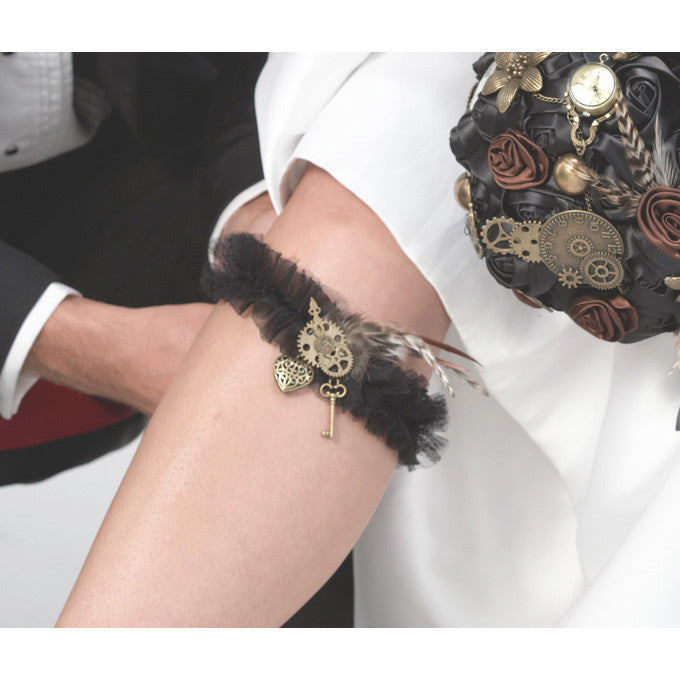 Steampunk Bridal Wedding Garter Belt – Candy Cake Weddings Favors ...