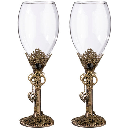 Steampunk Wedding Wine Glass Gift Set