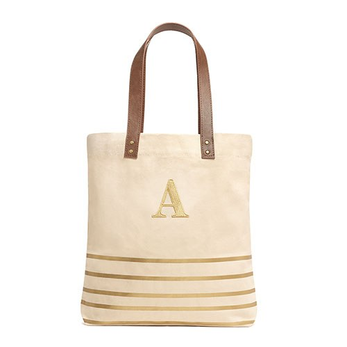 Personalized Metallic Gold Stripe and Canvas Tote Bag