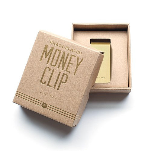 "Personalized ""For You"" Brass Gold Money Clip"