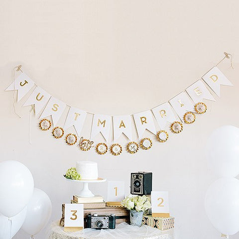 Gold Foil Just Married Pennant Banner