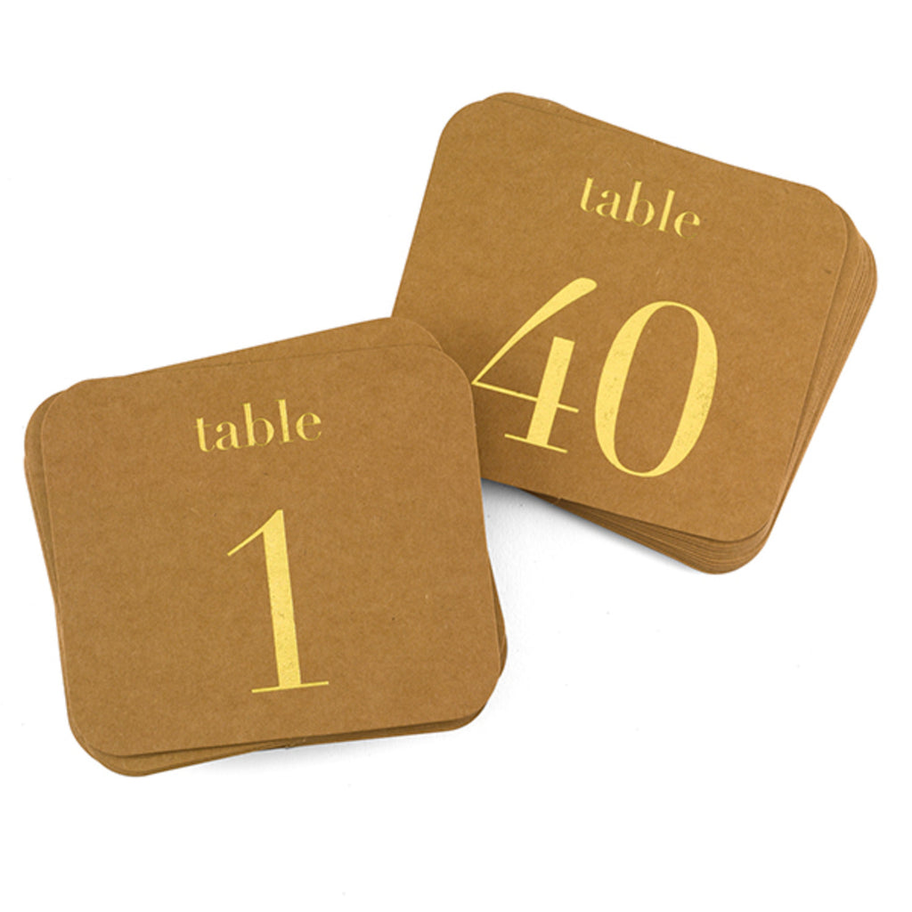 Kraft Wedding Party Gold Foil Table Number