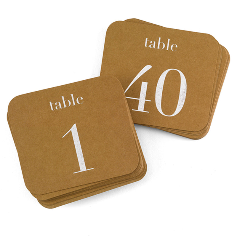 Kraft Wedding Party Silver Foil Table Number