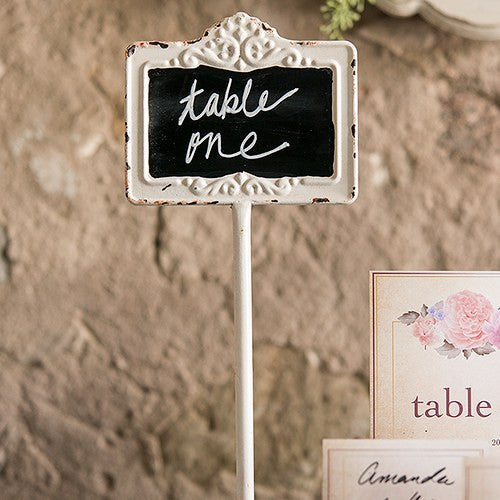 Antique White Framed Chalkboard Tall Table Sign Stand