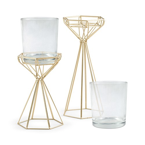 Tall Gold Geometric Candle Holder Set (Set of 2)