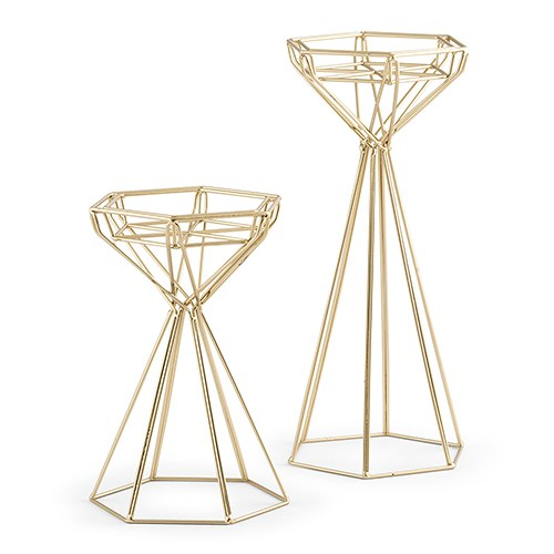 Gold Geometric Candle Holder Set