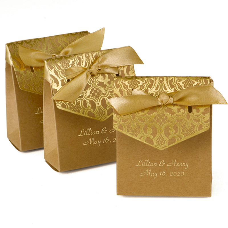 Personalized Gold Tent Favor Box with Gold Satin Ribbon