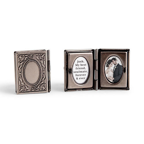 Square Antique Silver Vintage Locket Cufflink Set
