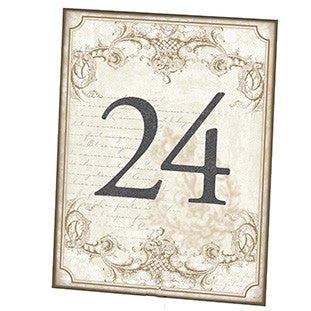 Vintage Gold Wedding Party Table Numbers (1-24)