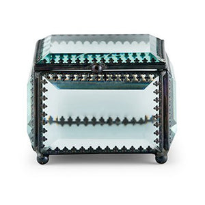Vintage Beveled Glass Wedding Ring Jewelry Box