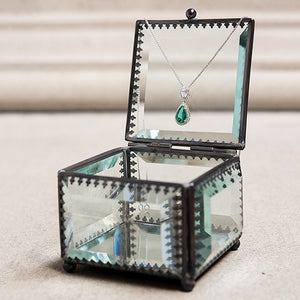 Beveled Glass Wedding Ring Jewelry Box