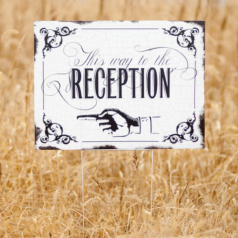 Vintage This Way to the Wedding Reception Yard Sign