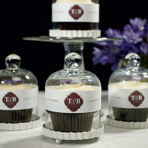 Miniature Bell Jar with White Fluted Base Wedding Favor with Cupcakes Inside