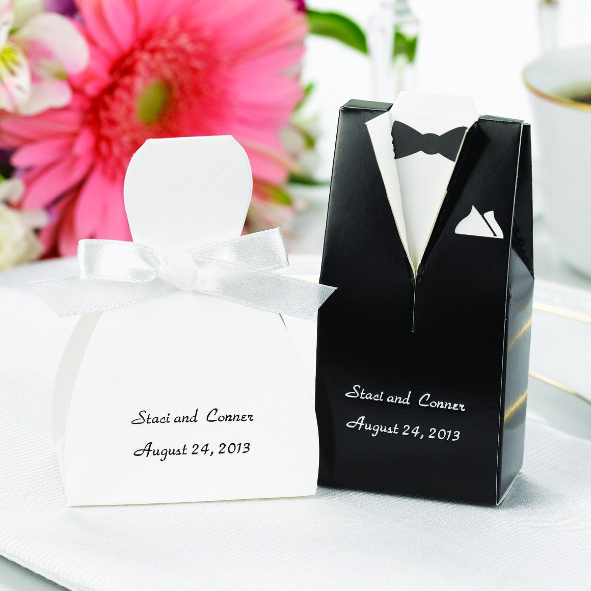 Personalized Gown or Tuxedo Wedding Favor Box – Candy Cake Weddings