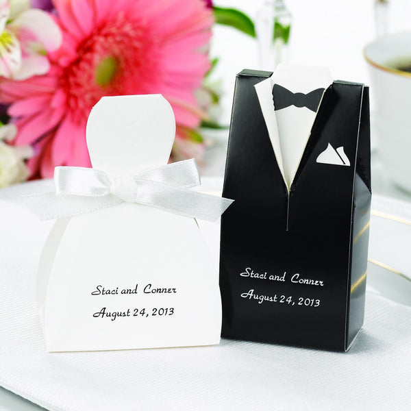 personalized gown or tuxedo wedding favor box candy cake weddings. Black Bedroom Furniture Sets. Home Design Ideas