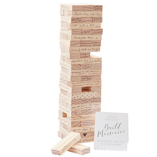 Wedding Day Wedding Guest Book Blocks Stacking Game