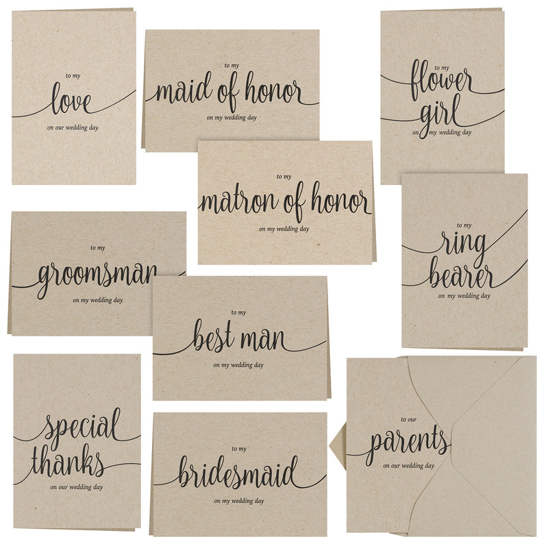Kraft Wedding Party Thank you Card Set