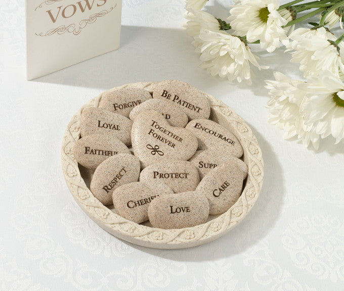 Wedding Vows Stones (Set of 13 Stones with Plate)