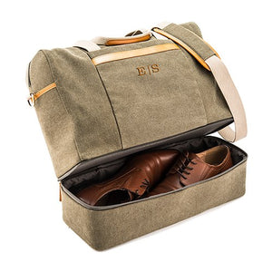 Men's Personalized Canvas Laptop/Shoe Travel Bag