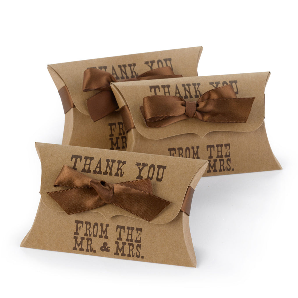 Mr. & Mrs Kraft Pillow Wedding Favor Box
