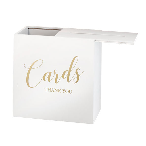 White Wooden Wedding Gift Card Wishing Well Box with Sliding Lid