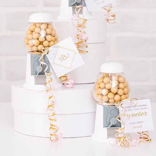 White Mini Gumball Machine Wedding Party Favors