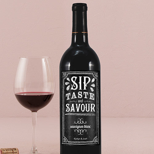 Personalized Chalkboard Sip Taste Savour Bottle Label Sticker