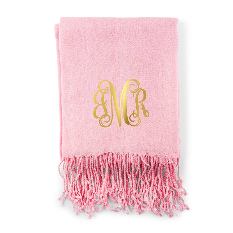 Women's Print Personalized Pashmina Scarf with Script Monogram