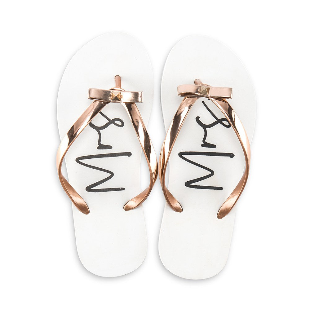 Women's Mrs White and Rose Gold Flip-Flops with Bow