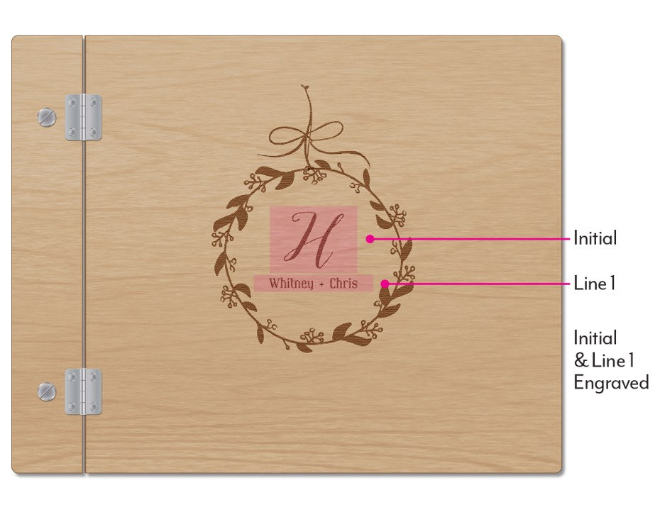 Personalized Wooden Wedding Guest Book with Wreath Etching