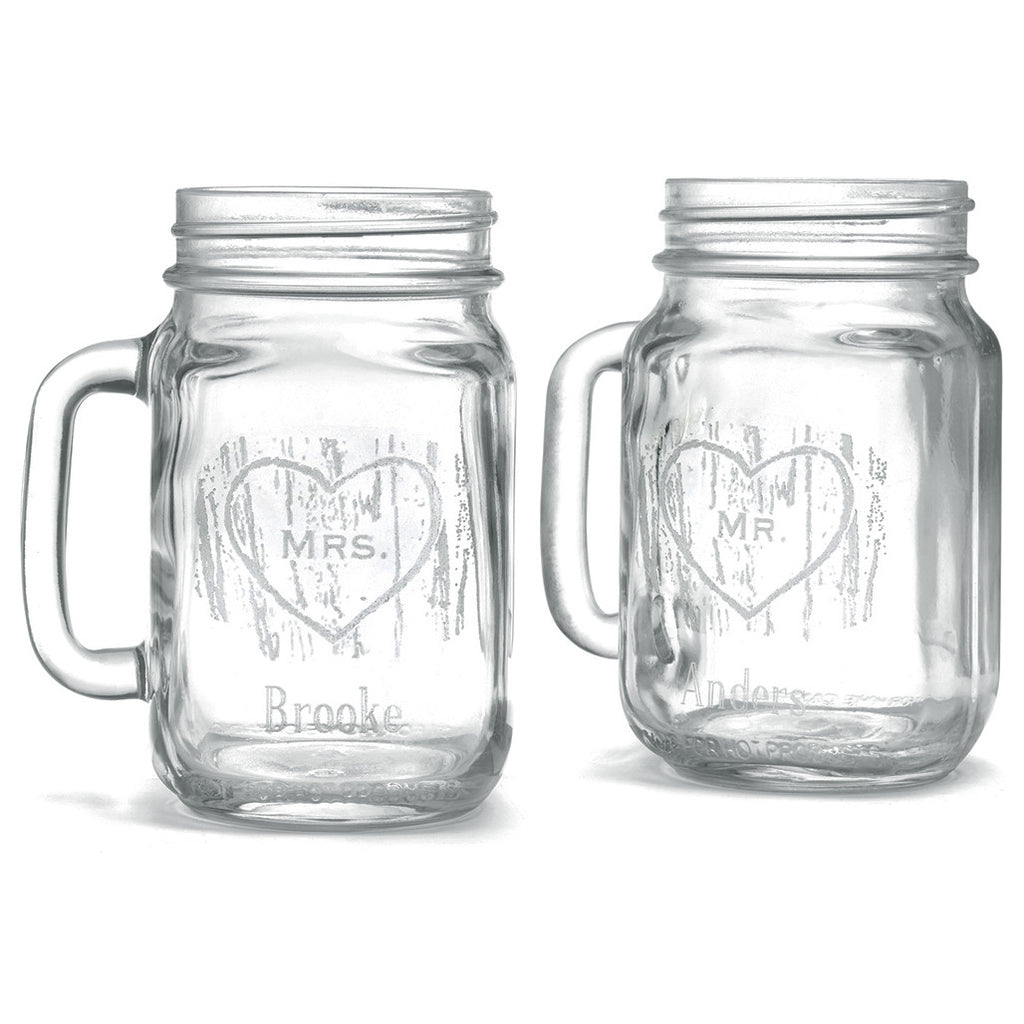 Personalized Mason Jar Woodgrain Glasses