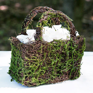 Moss and Wicker Woodland Wedding Flower Girl Basket with White Silk Flower Petals (not included).