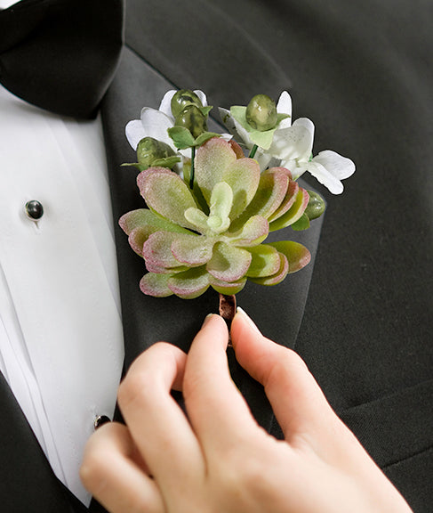 Woodland Succulent Boutonniere for Groom and Groomsmen Wedding Party