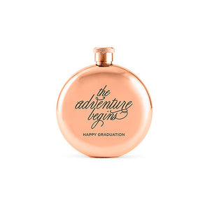The Adventure Begins Rose Gold 3oz Hip Flask
