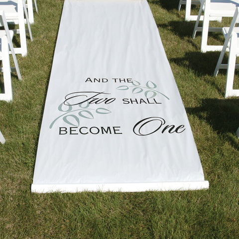 And Two Shall Become One Wedding Aisle Runner - White