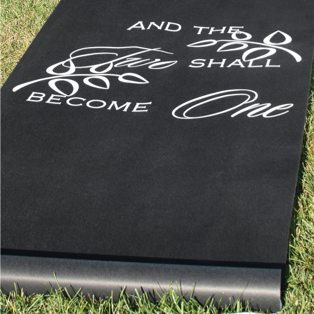 And Two Shall Become One Wedding Aisle Runner (Black & White)