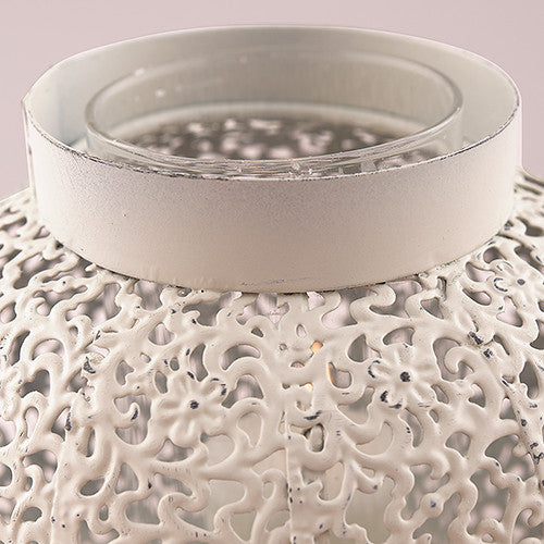 Metal Filigree Candle Holder with Glass Chimney