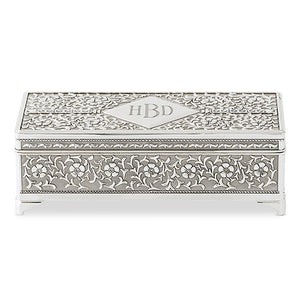 Personalized Silver Monogram Jewelry Box