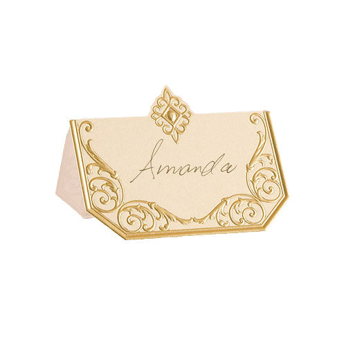 Art Deco Laser Embossed Place Card in gold and ivory.