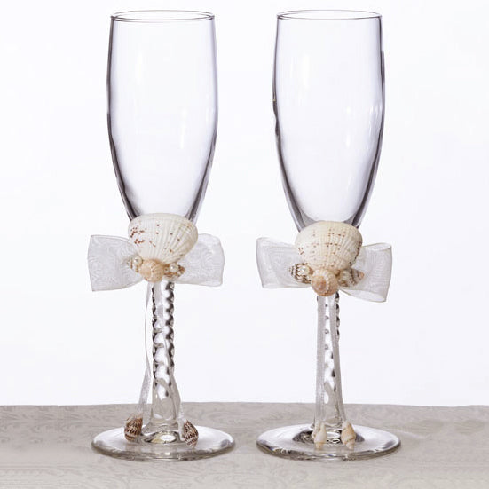 Seashell Beach Wedding Toasting Glass Set