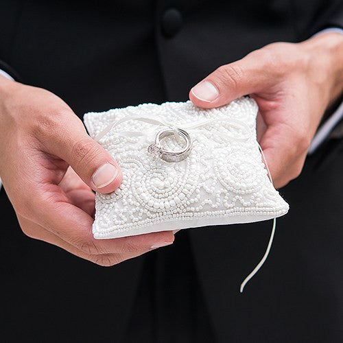 Mini White Beaded Wedding Ring Pillow
