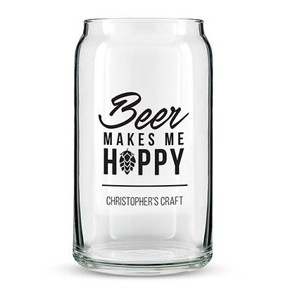 Personalized Beer Makes Me Hoppy Can Shaped Glass