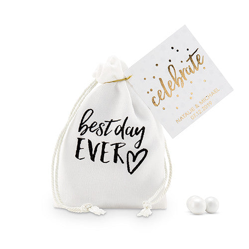 Black and White Best Day Ever Muslin Drawstring Favor Bag