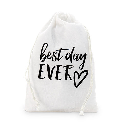 Best Day Ever Muslin Drawstring Favor Bag