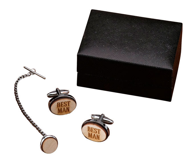 Best Man Groom Groomsman Wood Cufflinks and Tie Tack Set