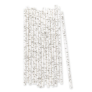 Black and White Birch Bark Paper Straws with Hearts