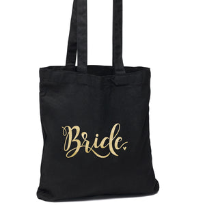 Black and Gold Bride Wedding Welcome Tote Bag