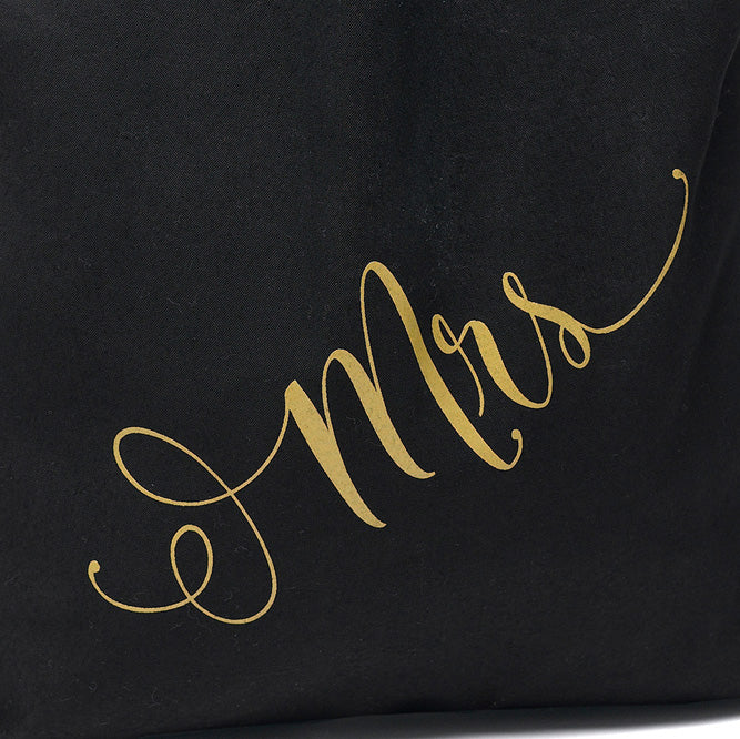 Mrs Gold and Black Tote Bag
