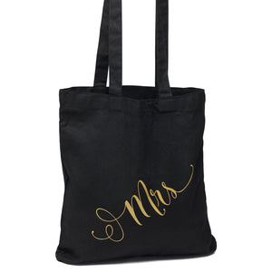 Black and Gold Mrs Wedding Welcome Tote Bag