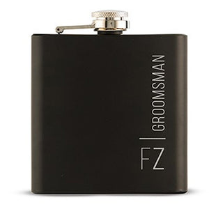 Personalized Black Hip Flask with Vertical Font